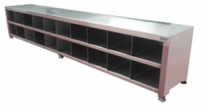 Stainless Steel Locker Bench with Shoe Storage